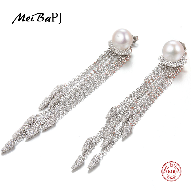 все цены на MeiBaPJ Fashion 925 Sterling Silver Long Tassels Drop Earrings Natural Freshwater Pearl Earrings Charm Fine Jewelry For Women онлайн