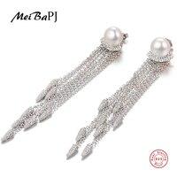 MeiBaPJ Fashion 925 Sterling Silver Long Tassels Drop Earrings Natural Freshwater Pearl Earrings Charm Fine Jewelry For Women