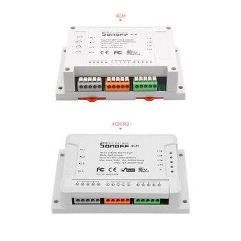 Itead Sonoff 4CH Pro R2 433MHZ Gang RF bezprzewodowy zdalny inteligentny zegarek wi-fi montaż sterowania bezprzewodowego Sonof 4 kanały