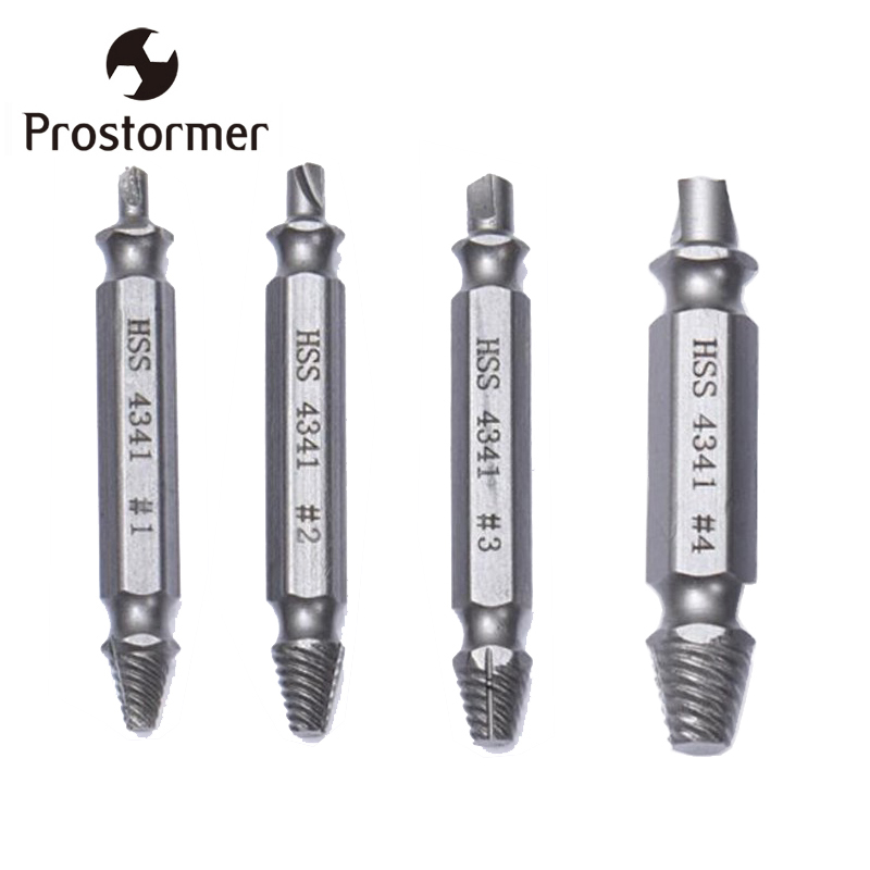Prostormer 4Pcs Screw Extractor Drill Bits Bolt Extractor Set Broken Damaged Bolt Remover Double Ended Damaged Screw Extractor high quality 4pcs drill bits set broken bolt remover double side screw extractor power tools kit 1 2 3 4 wholesale price