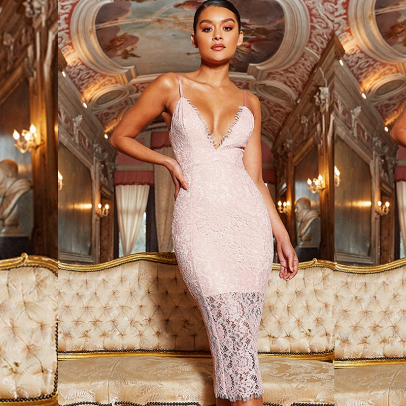 <font><b>2018</b></font> Elegant <font><b>White</b></font> Bandage <font><b>Dress</b></font> Spaghetti Strap V Neck <font><b>Sexy</b></font> Chic Summer <font><b>Backless</b></font> Lace Hollow Out <font><b>New</b></font> <font><b>Fashion</b></font> <font><b>Dresses</b></font> Vestidos image