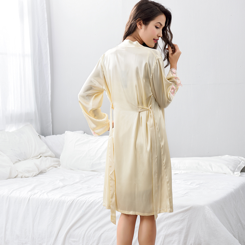 Robe Sets Female Lace Embroidery Faux Silk Sleepwear Women Two Piece Sexy Satin SILK Bathrobes Home Clothing F6622 in Robe Gown Sets from Underwear Sleepwears