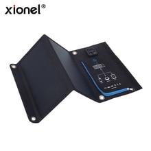 Xionel 15 w Células Solares SunPower Carregador 5 v 2.1A USB Dispositivos de Saída Painéis Solares Portáteis para Smartphones