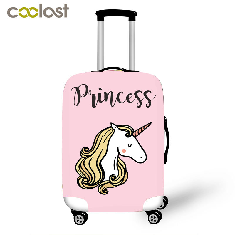 Kawaii Cartoon Unicorn Suitcase Cover For 16-18 Inch Rainbow Horse Travel Luggage Covers Anti-dust Trolley Case Protective Cover forudesigns 3d unicorn cat luggage protective cover anti scratch luggage cover for 18 28 trolley suitcase elastic dustproof