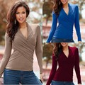 New Women Casual Basic Autumn Winter T-shirt Top Shirt Tee V-neck Sexy Full Sleeve bandage Plus Size
