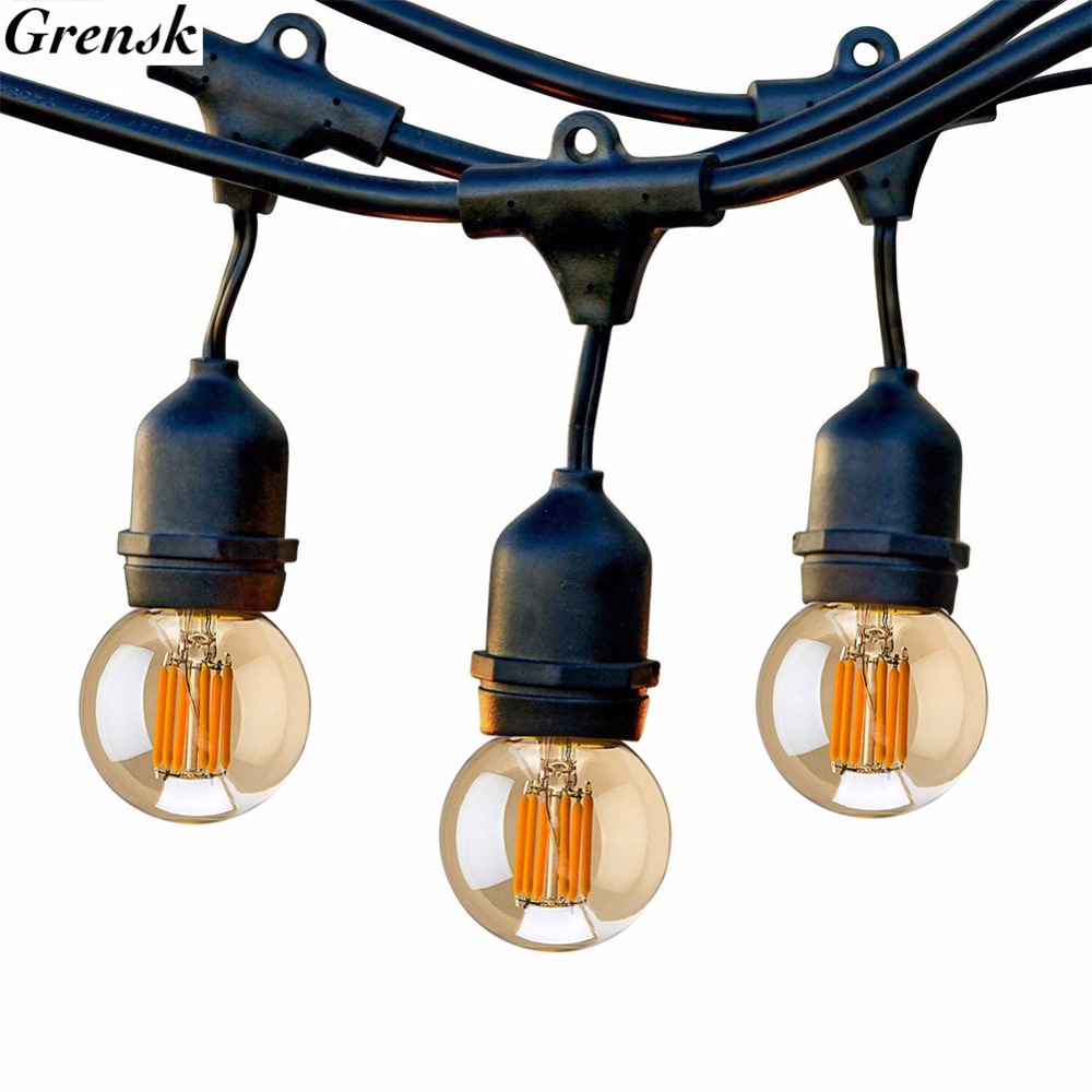 Outdoor String Lights, 10M LED Globe Filament Lights, 10 Edison Weatherproof Vintage Dimmable Bulbs,Garden Holiday Lighting 24 feet outdoor string lights weatherproof commercial grade outdoor lights with 12 hanging sockets and 18 edison bulb 11w