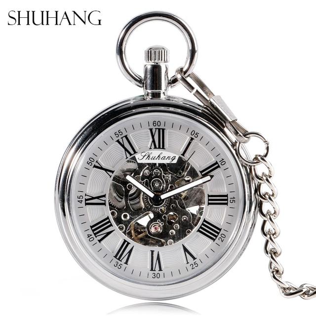 SHUHANG nowy zegarek mechaniczny 2017 mężczyźni automatyczny samonakręcający kieszonkowy zegarek srebrny prosty otwarty łańcuszek wisiorek z z cyframi rzymskimi