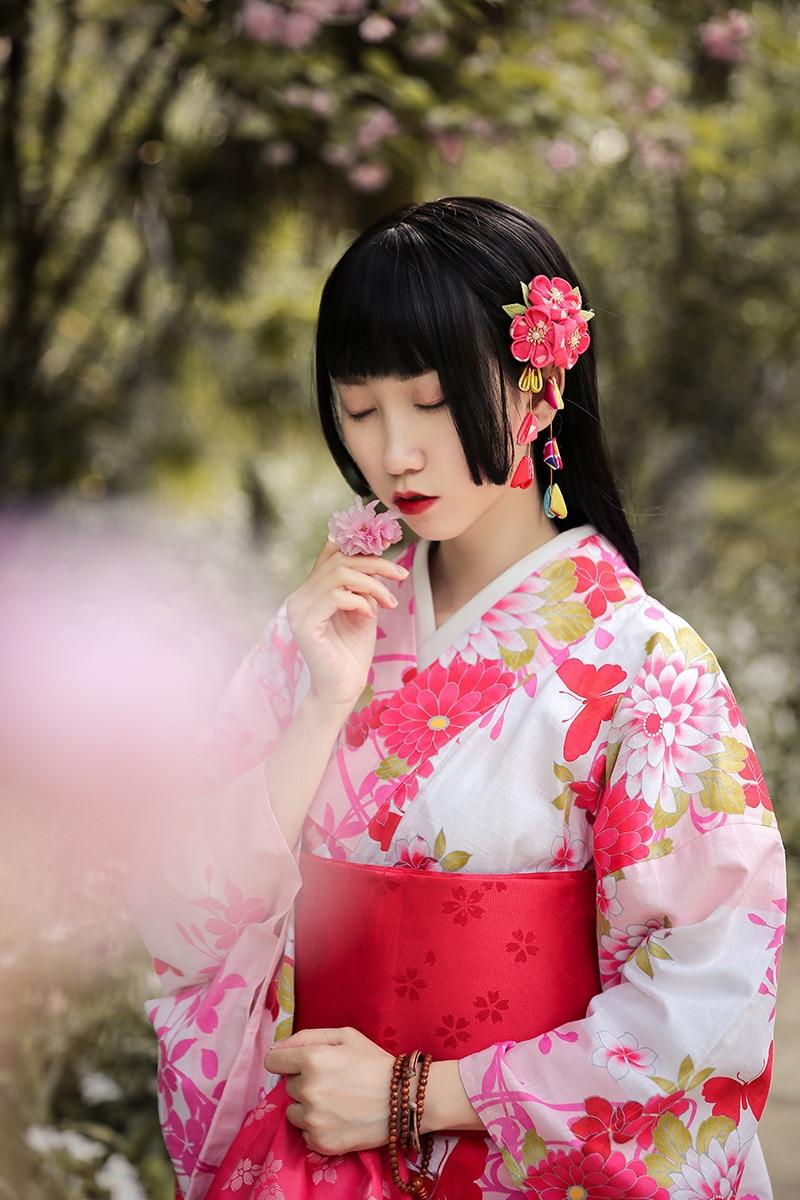 Tenue de bain kimono petit Grain rose Anti-rides pour femme japonaise