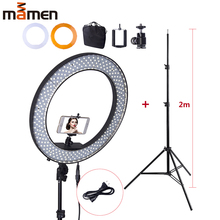 Mamen LED Selfie Ring Light 55W 5500K Studio Photography Photo Fill Beauty Ring Light with Tripod for iphone Smartphone Makeup neewer 18 inches 55w 5500k dimmable led ring light light stand bluetooth receiver for smartphone youtube selfie makeup light