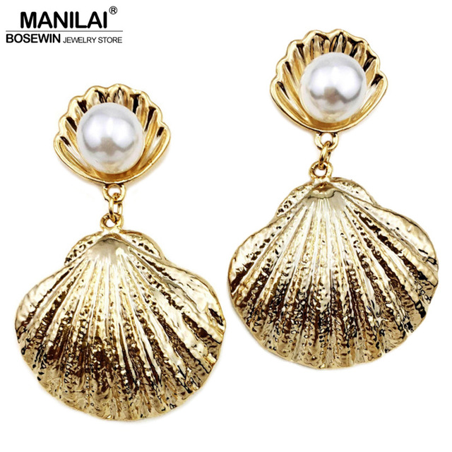 MANILAI Trendy Simulated Pearl Big Metal Shell Stud Earrings For Women 2017 Charm Jewelry Beach Boho Earrings Pendientes