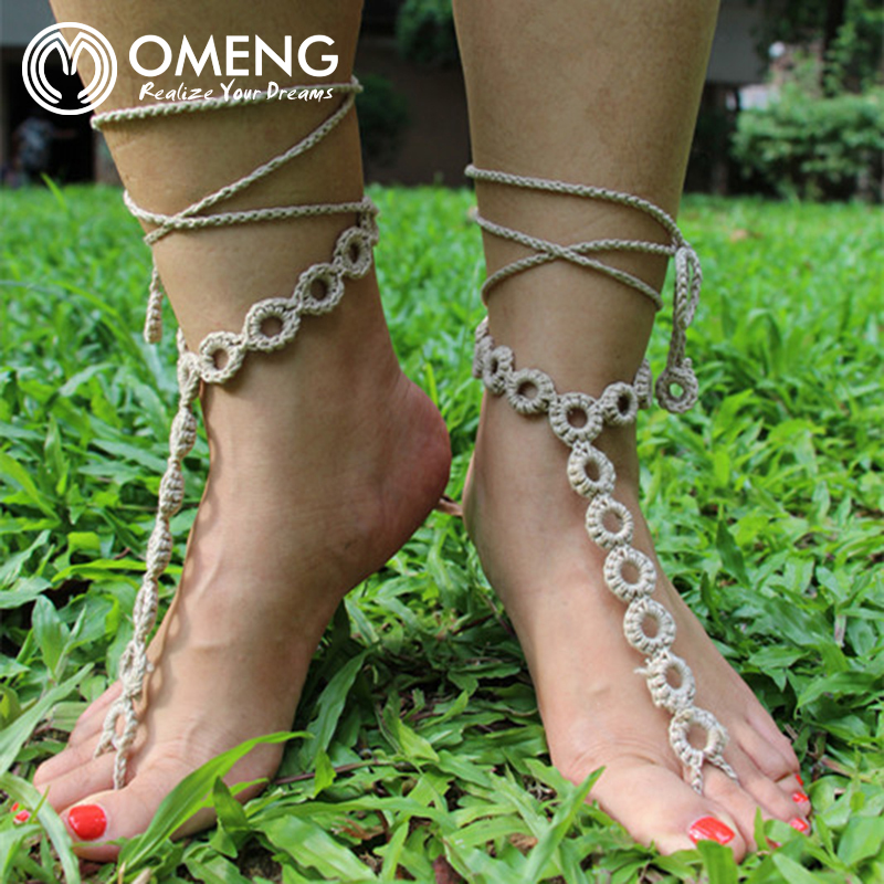 item wear sandal jewelry in sandals anklets crochet rope anklet barefoot handmade wedding omeng beach boho yoga sexy from hippy