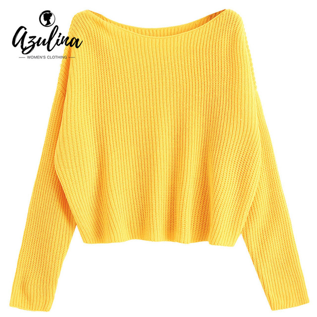 AZULINA Autumn Sweaters Women 2018 One Shoulder Oversized Pullover Sweater Long Sleeve Loose Knitted Sweaters Jumper Pullovers