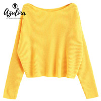 AZULINA Autumn Sweaters Women 2017 One Shoulder Oversized Pullover Sweater Long Sleeve Loose Knitted Sweaters Jumper