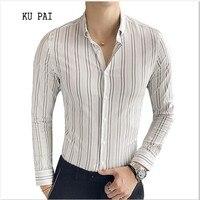 2018 Autumn And Winter British Temperament Men Stretch Tight Striped Shirt Male Korean Version Of The
