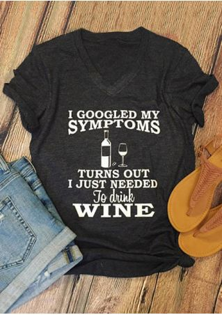 Vessos Women T-Shirts V-Neck Short Sleeves Letter Printed I Just Needed To Drink Wine Fashion Stylish Popular Top Tees Bottle