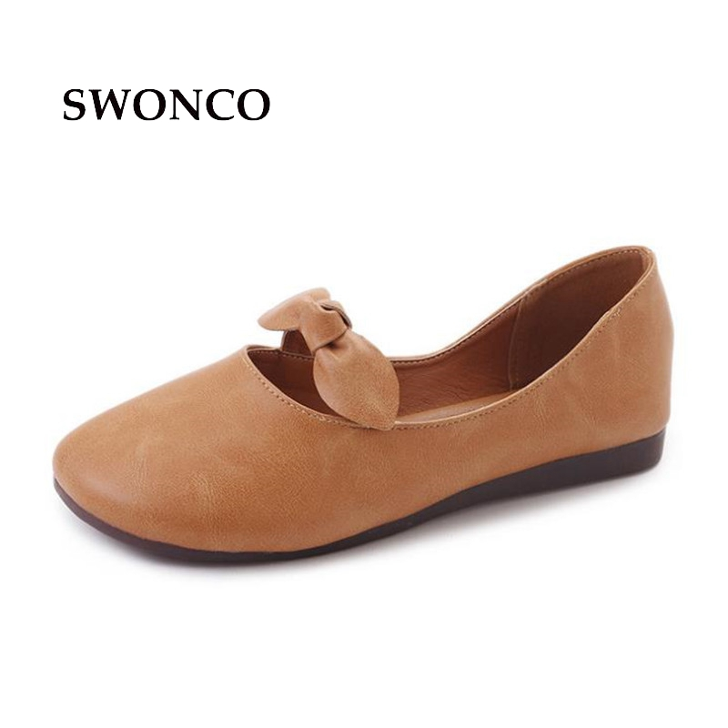 SWONCO Women's Flats Shoe Women 2018 Fashion Butterfly-Knot Slip On Loafers Female Shoes Casual Leather Shoes Woman Footwear сумка quelle vera victoria vito 1023118
