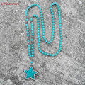 New Trendy Blue/White Lucky Star Charm Pendant Turquoise Bead Long Necklaces For Women Girls Gift With Hematite Beads Bijioux