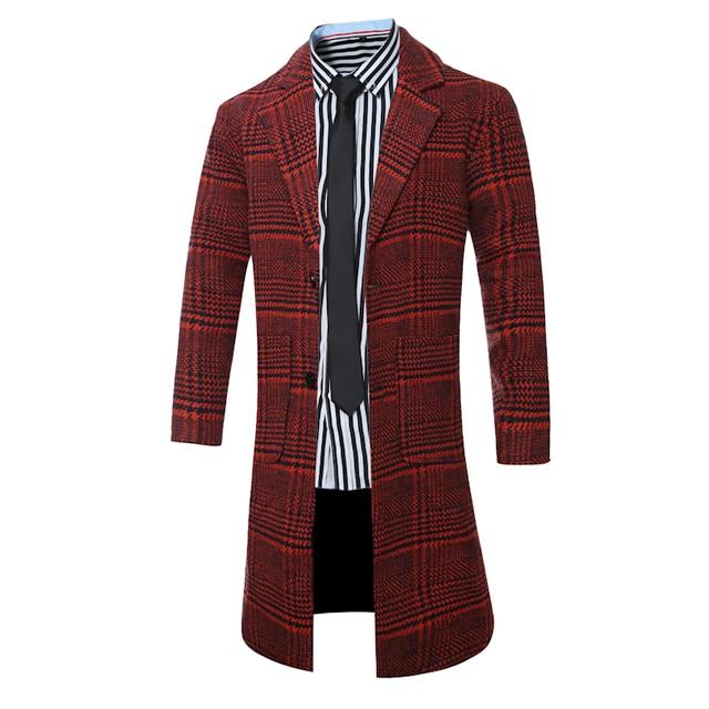 2016 Winter Trench Coat Men Single Breasted Trench Coat Men Outerwear Plaid Casual Coat Fall Men's Jacket Slim Men Trench Coat