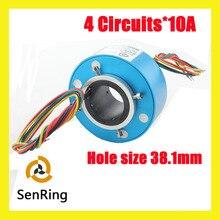 Anel coletor SENRING conector rotativo elétrico 4 fios/contato 10A de tamanho do furo 38.1mm