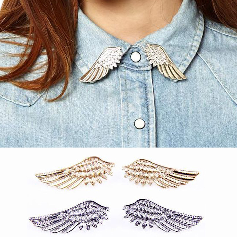 Sale 1 Pair Collar Pin Brooches Gothic Christmas Ornaments Women Fashion Angel Wings Brooch Accessories Gift