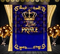 custom Royal Blue Little Prince Crown Gold Tufted background High quality Computer print party backdrop
