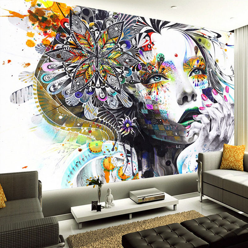 Indoor Wall Painting Ideas: Custom Mural Wallpaper Color Hand Painted Abstract