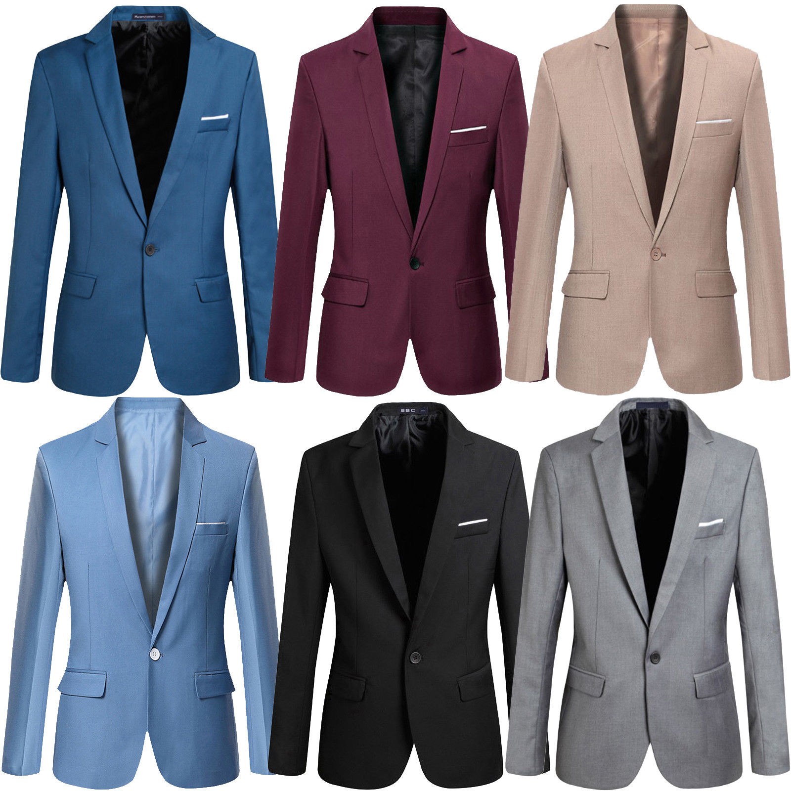 Men's Casual Slim Fit One Button Suit Business Coat Jacket Outwear G40