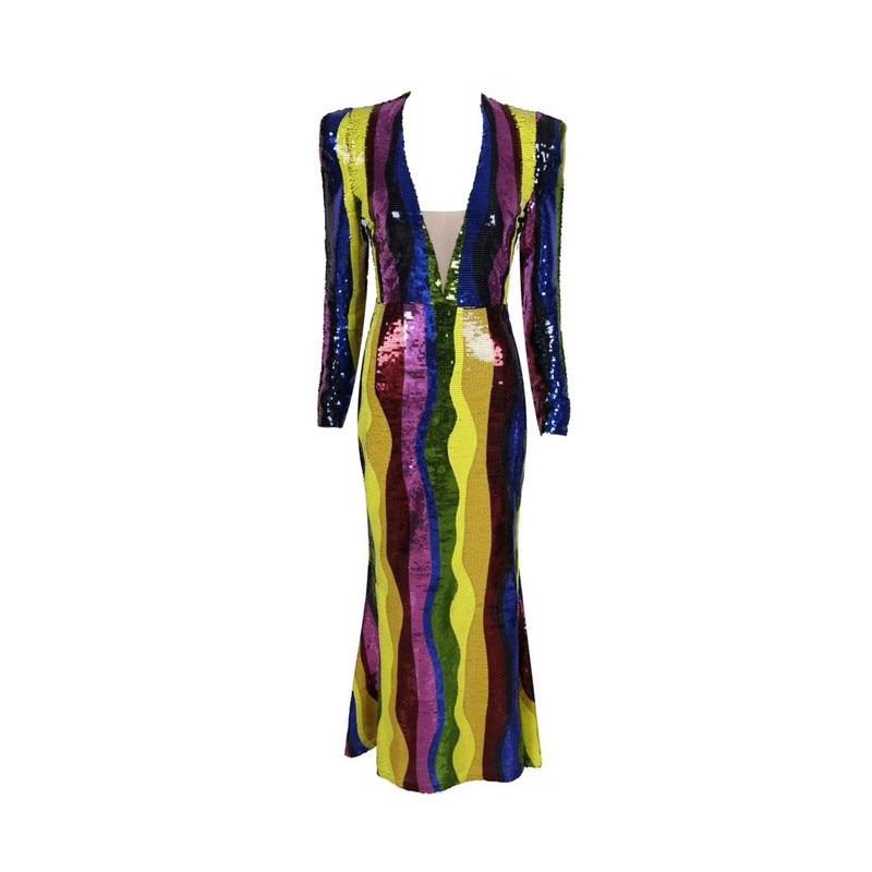 Étage Tenue Soir Longueur Fête Élégante Bande Femme À Longues Supérieure Paillettes Pour De Robe Qualité Colorful Manches 4R5j3AL