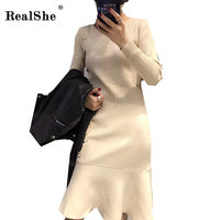 RealShe 2018 Women Autumn Casual Dress Fashion Elegant Women Dress Vestidos Female Single Breasted Knitting Dresses