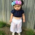 2017 Moda Bebê Recém-nascido Meninas Infantis roupas de Verão Rendas Calças de Cintura Alta sólidos casual algodão Bottoms Calças one pieces