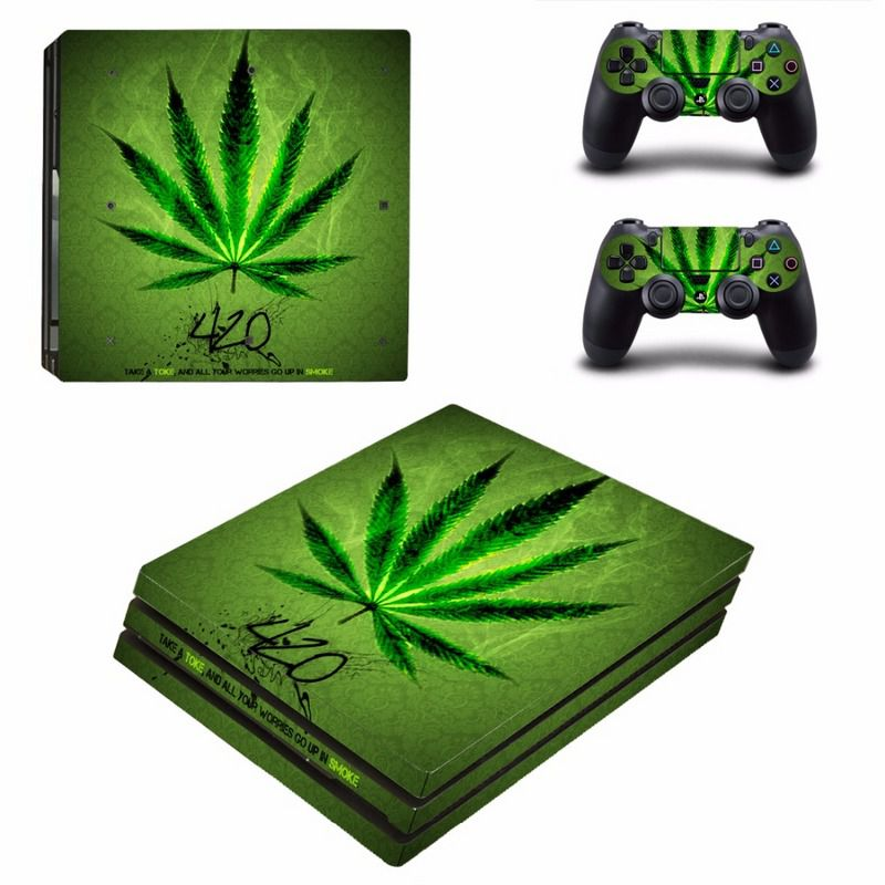 Green Leaf For PS4 Pro Vinyl Skin Sticker Cover Console  amp  2PCS Controller Skin Decal For Sony Playstation 4 Pro Game Accessories