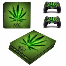Zielony liść dla PS4 Pro Vinyl nalepka skórki pokrywy konsoli i 2 sztuk skórka na kontroler naklejka dla Sony Playstation 4 Pro akcesoria do gier