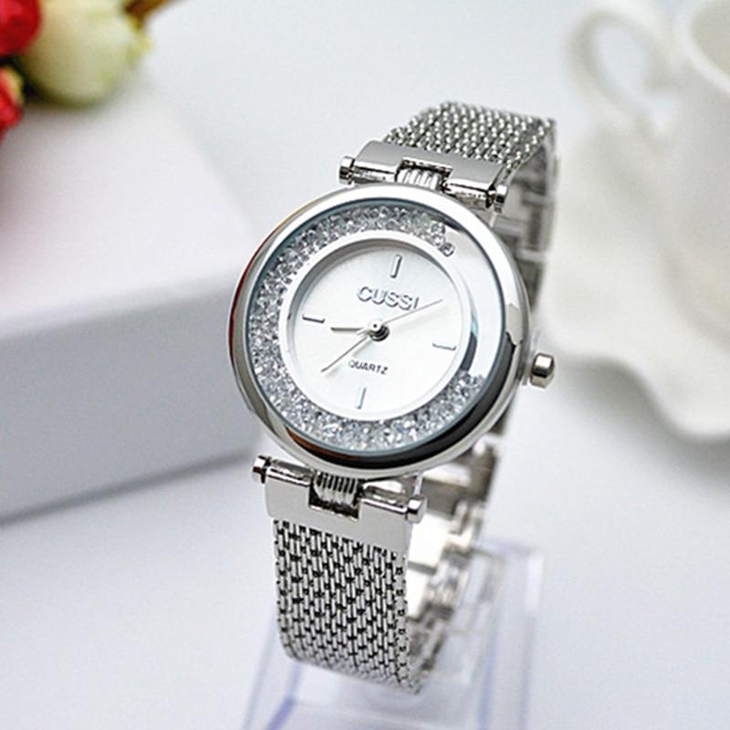 CUSSI Top Brand Luxury Gold Wrist Watches Diamond Rhinestone Bracelet Watch Women Watches Fashion Women's Watches Clock Relojes