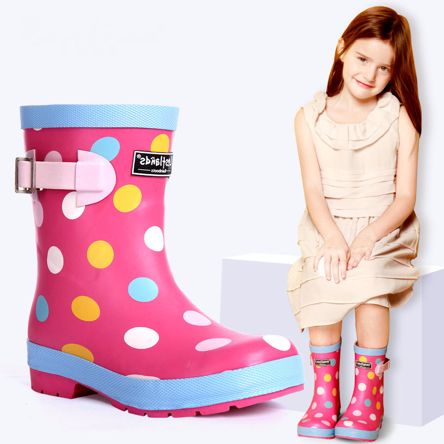 Kids Rain Boots Girl children shoes Loverly Pink Colored dots Waterproof Overshoes Infant Baby Child Water Rubber Shoes 32-34 kelme 2016 new children sport running shoes football boots synthetic leather broken nail kids skid wearable shoes breathable 49