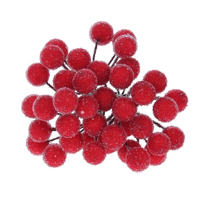 Мини Поддельные Цветок Фрукты маленькие ягоды искусственный вишня тычинки Свадебный дом Рождество декоративные с 40 головок тычинки