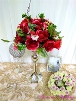 Elegant Silver Short Small Metal Flower Vases With Big Head 2 Sizes for Wedding Event Party Decoration