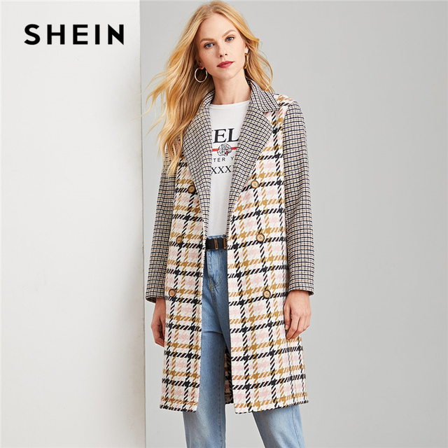 9f9cf8a11c SHEIN Multicolor Office Lady Elegant Double Breasted Notched Neck Plaid Coat  Autumn Modern Lady Workwear Women Coats Outerwear