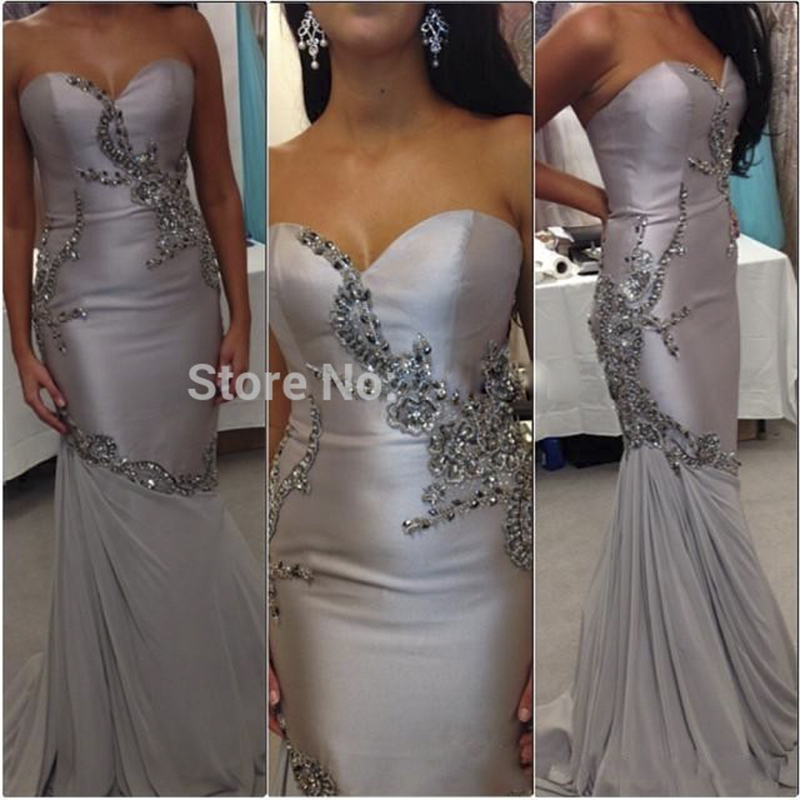 fashion silver mermaid long evening dress 2017 sweetheart beaded satin women pageant gown for formal prom