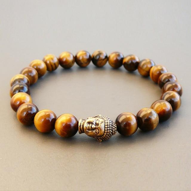 Sn0241 Gold Buddha Bracelet Stretchy Beaded Men Tiger Eye Bracelets