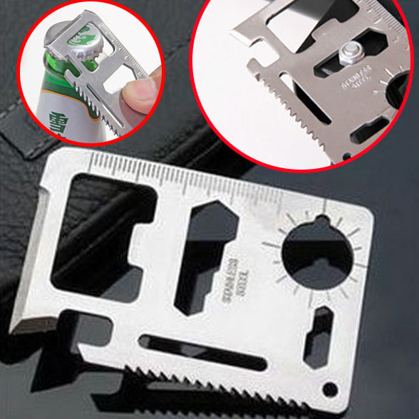 Tactical Credit Card Size Multi Tools Survival Military Fillet Knife Survival Tool Kit11 in 1 Pocket Camping Knife Hunting