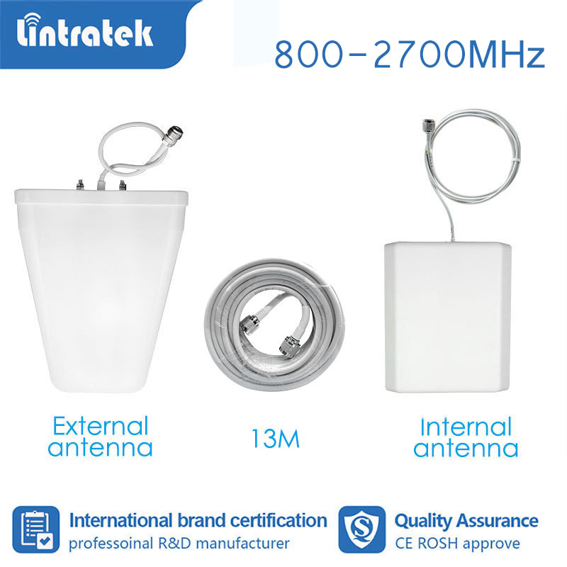 Lintratek Booster Accessories Full Set Booster Antenna For Signal Amplifier GSM 2G 3G 4G 850 800-2700mhz 13 Meter Cable  S4