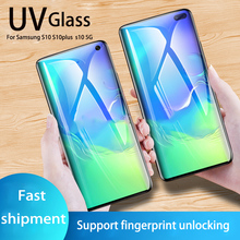 For Samsung S8 S9 S10 plus Nano Liquid UV full glue Tempered Glass film for Galaxy s10 5G s10lite Full coverage Screen Protector