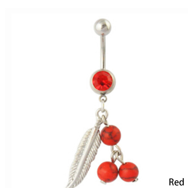 Piercing Navel Ear Plugs Navel Piercing Fashion Body Belly Jewelry Feathers Rings Jewellery Stainless Steel 5 colors