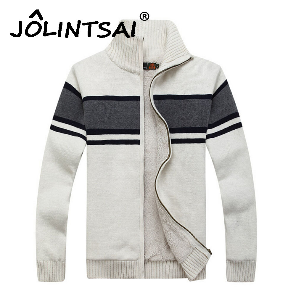 Size M -3XL Cashmere 2016 Thicken Zipper Fleece Sweaters Men Patchwork Cardigan with Vel ...