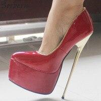 Sorbern Для женщин модные туфли Slip On Обувь 22 см высокий каблук + 6 см из искусственной кожи на платформе из золотистого металла каблук танец туфл