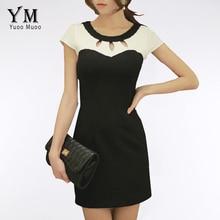 YuooMuoo Lady Casual Elbise Hanım Artı Boyutu Emek harcamaları Elbise Bodycon Zarif OL Iş Elbise Ofis Kısa Patchwork Hanım Giyim