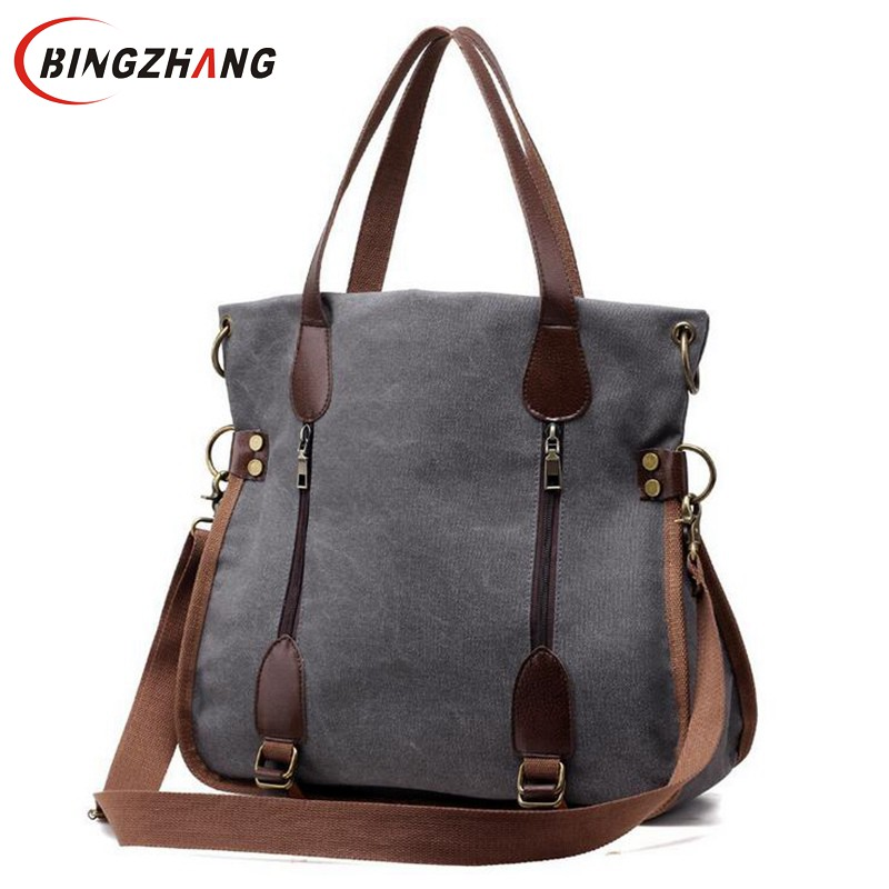 2018 Fashion Big Women Canvas Bag Ladies Shoulder Bags Handbags Women Famous Brands Large Captain Casual Tote Bags Sac L4-2951 aosbos fashion portable insulated canvas lunch bag thermal food picnic lunch bags for women kids men cooler lunch box bag tote
