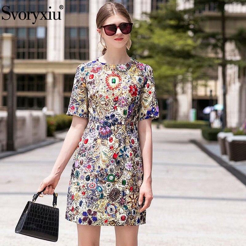 Svoryxiu Runway Luxury Crystal Diamond Vintage Dress Women's Fashion Short Sleeve Printed Summer Party Mini Dress Vestdios