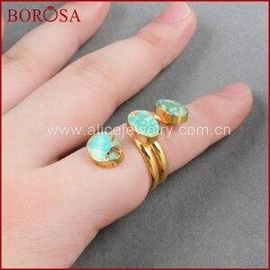 Image 5 - BOROSA anneaux de style bohème pour femmes, pierre bleue naturelle, anneau turquoise Vintage, plaqué or, cadeaux, G0280, collection 100%