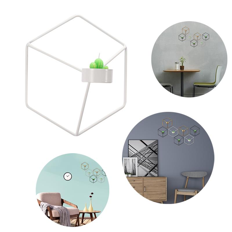 Lemonbest Touch Nordic Style 3D Geometric Candlestick Metal Wall Candle Holder Sconce Matching Small Tealight Home Ornaments